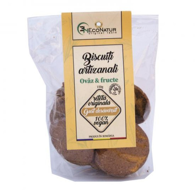 Biscuiţi artizanali cu ovăz şi fructe uscate 150g Econatur