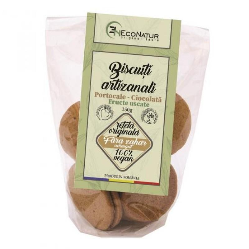 Biscuiţi artizanali cu portocale şi ciocolată, fără zahăr 150g Econatur