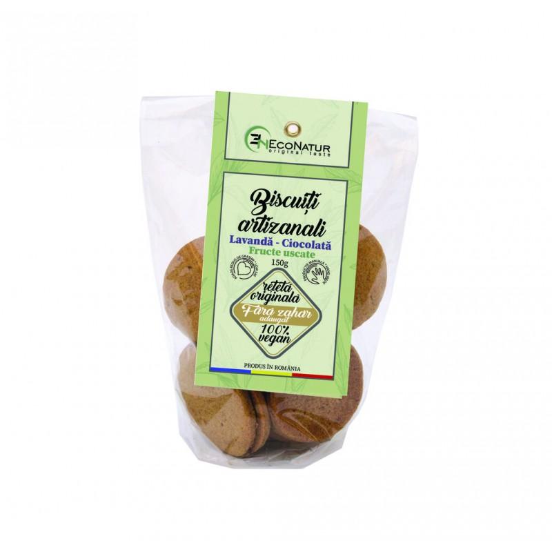 Biscuiţi artizanali cu lavandă şi ciocolată, fără zahăr 150g Econatur